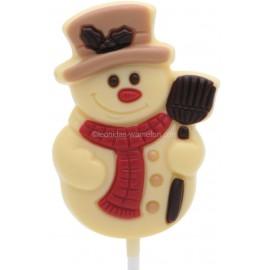 Leonidas - Sucette de Noël - Bonhomme de neige en chocolat blanc coloré - Leonidas Warneton (B)