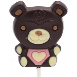 Leonidas - Sucette en chocolat noir - Motif : Ourson - Leonidas Warneton (B)
