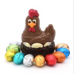 Leonidas - Poule en chocolat au lait et 10 petits œufs de Pâques - Leonidas Warneton (B)