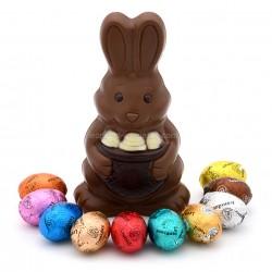 Leonidas - Figurine de Pâques : Lapin au chocolat au lait tricolore et 10 petits œufs de Pâques assortis - Leonidas Warneton (B)