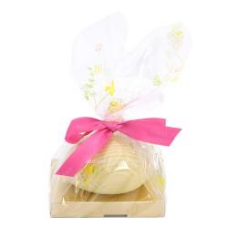 Leonidas  Œuf de Pâques composé de deux demis coquilles en chocolat blanc garni de 10 petits œufs de Pâques assortis