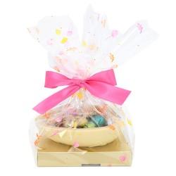 Leonidas - Demi coquille en chocolat blanc garni de 16 Petits oeufs de Pâques assortis
