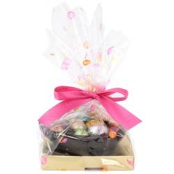 Leonidas - Demi coquille en chocolat noir garnie de 16 petits œufs de Pâques assortis