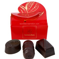 Leonidas - Mini ballotin de 3 chocolats Leonidas noirs - Emballage rouge - Leonidas Warneton (Belgique)