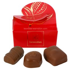 Leonidas - Mini ballotin de 3 chocolats Leonidas au lait - Emballage rouge - Leonidas Warneton (Belgique)