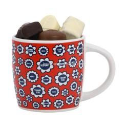 "Tasse (Mug) rouge  ""Merci"" garni de 300gr de chocolats Leonidas - Leonidas Warneton (Belgique)"