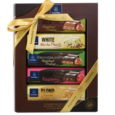 Leonidas - Pack de 5 Bâtons de chocolat assortis (5x50gr) - Leonidas Warneton (Belgique)